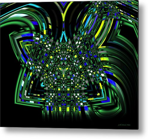 Green Abstract Metal Print featuring the digital art Abstract 401 by Judi Suni Hall