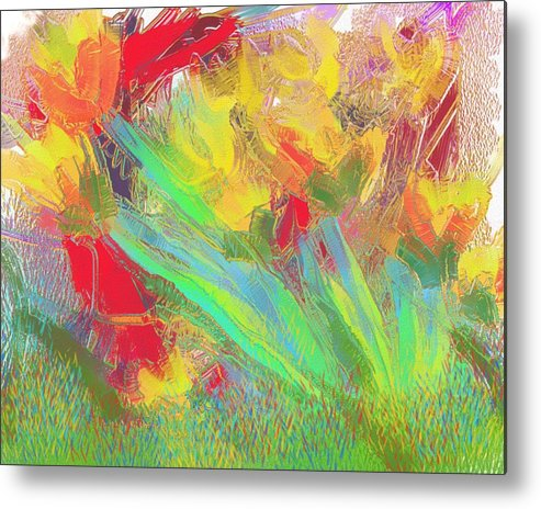Abstract Metal Print featuring the painting Abstract Flowers by Harry Dusenberg