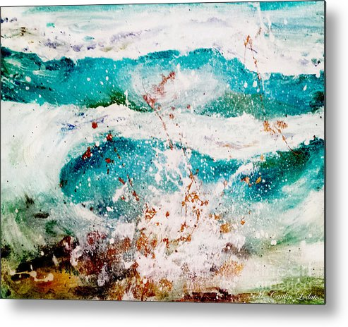 Abstract Waves Metal Print featuring the painting Abstract Waves Lbi by Caitlin Lodato