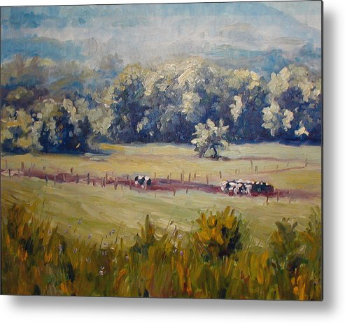 Landscape Metal Print featuring the painting After Morning Milking by Kathy Busillo
