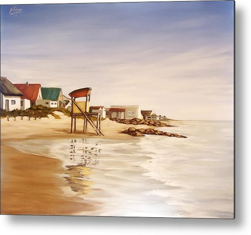 Seascape Sea Reflection Water Seaside Metal Print featuring the painting Aguas Dulces by Natalia Tejera