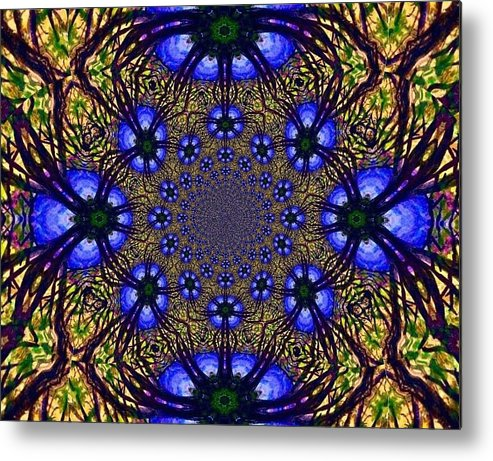 Blue And Yellow Metal Print featuring the digital art Blue Abstract by Anne Sands