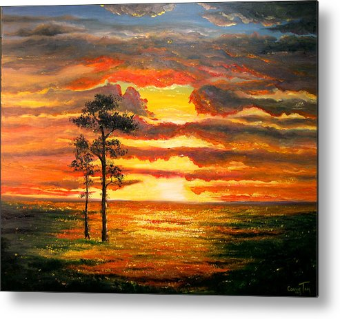 Connie Tom Metal Print featuring the painting Alone With God by Connie Tom