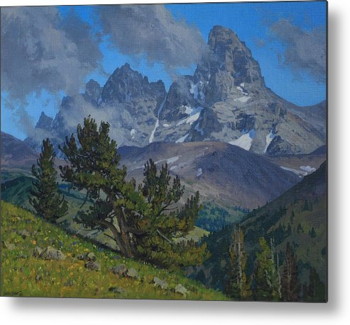 Landscape Metal Print featuring the painting Alpine Sentinels by Lanny Grant