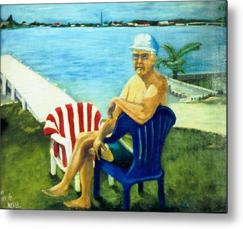 Man Southern Lakescape Metal Print featuring the painting American Dream by Gloria M Apfel