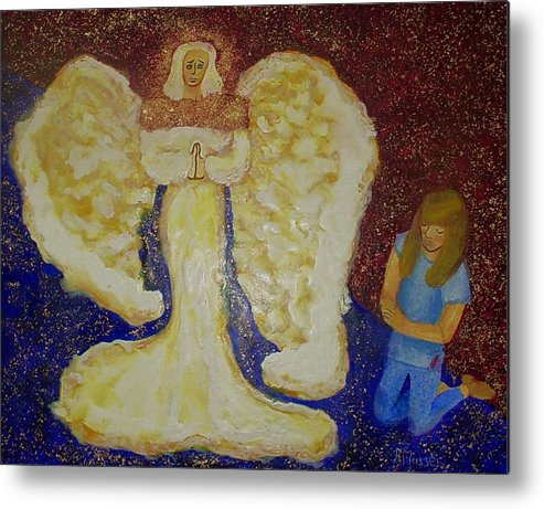 Angel Metal Print featuring the painting Angel And Child by Helen Musser