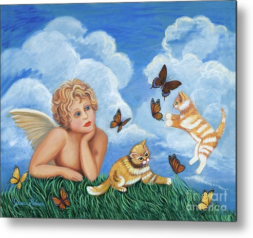 Angel Metal Print featuring the painting Angel And Kittens by Jessica Kolesar