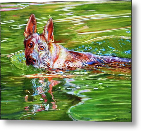 German Sheppard Metal Print featuring the painting Angus by Kelly McNeil