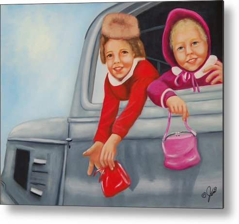 Portraits Metal Print featuring the painting Are We There Yet by Joni McPherson