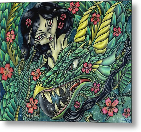 Dragon Metal Print featuring the drawing Ascension by Tanya Ross