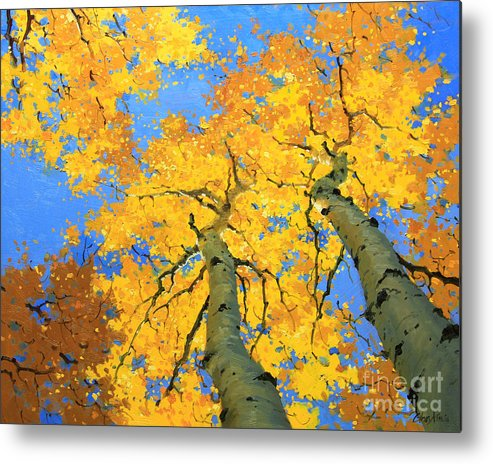 Nature Metal Print featuring the painting Aspen Sky High by Gary Kim