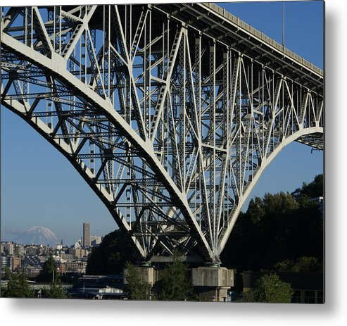 Architecture Metal Print featuring the photograph Aurora Bridge - Seattle by Sonja Anderson
