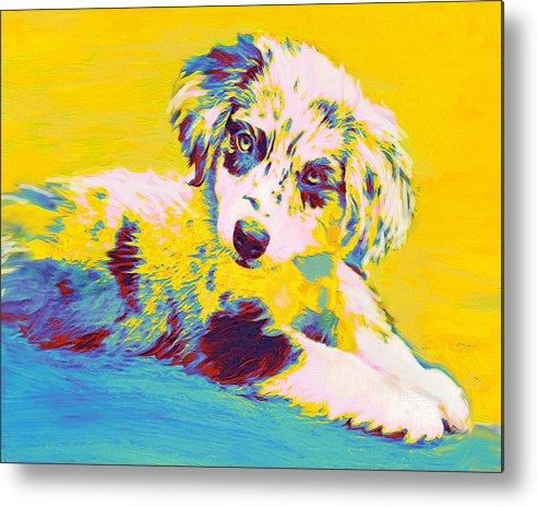 Aussie Metal Print featuring the digital art Aussie Puppy-yellow by Jane Schnetlage