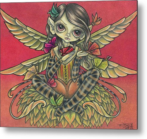Fall Metal Print featuring the drawing Autumn Butterflies by Tanya Ross