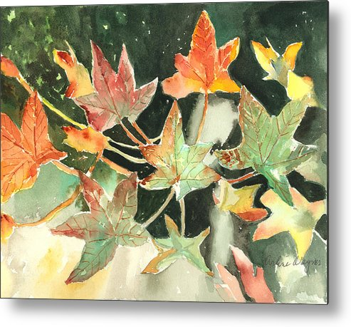Leaf Metal Print featuring the painting Autumn Leaves by Arline Wagner