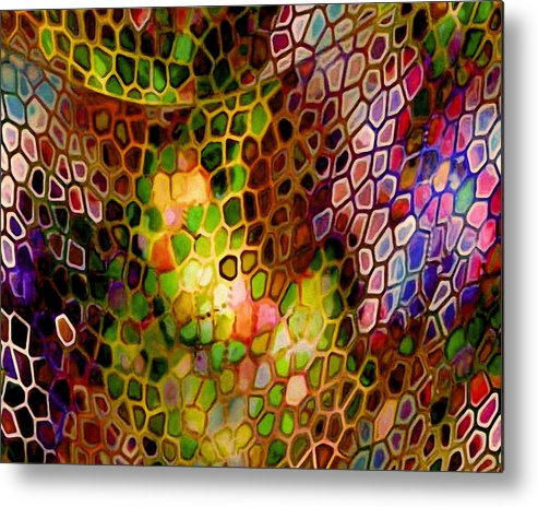 Autumn Mesh Abstract Pink Blue Green Yellow Decor Metal Print featuring the painting Autumn Mesh by Susan Epps Oliver