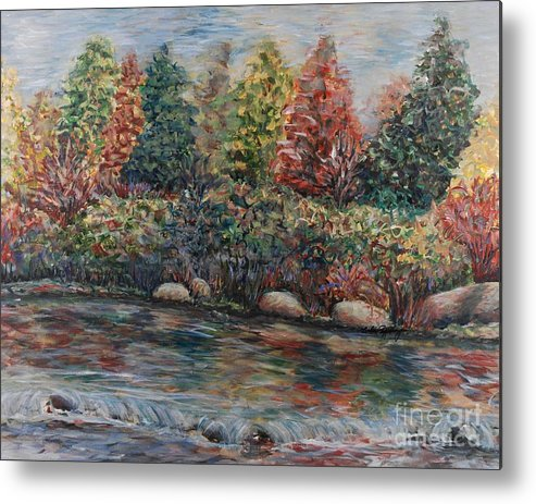 Autumn Metal Print featuring the painting Autumn Stream by Nadine Rippelmeyer