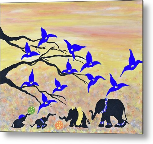 Cute Baby Animals Safari Nursery Art Baby Elephants Nursery Wall Art Baby Animals Original Painting Metal Print