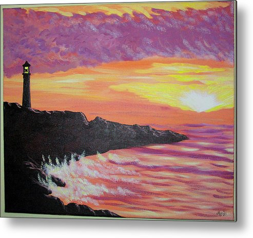 Seascape Metal Print featuring the painting Bahia At Sunset by Marco Morales