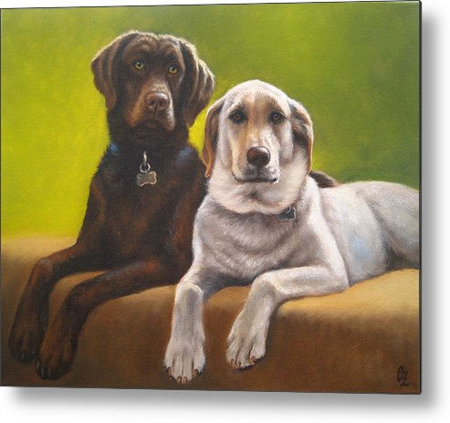 Dog Metal Print featuring the painting Bailey And Hershey by Oksana Zotkina