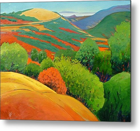 California Landscape Metal Print featuring the painting Bald Hill by Gary Coleman