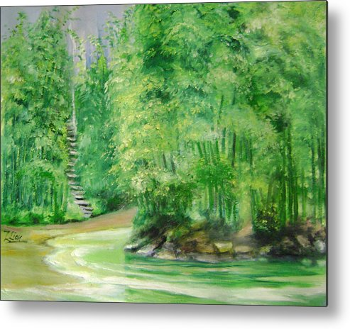 Landscape Metal Print featuring the painting Bamboo Forests 1 by Lian Zhen