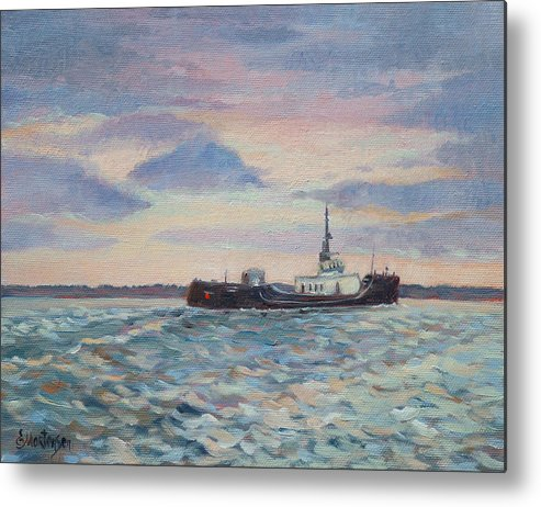 Maritime Metal Print featuring the painting Barge On Port Phillip Bay by Ekaterina Mortensen