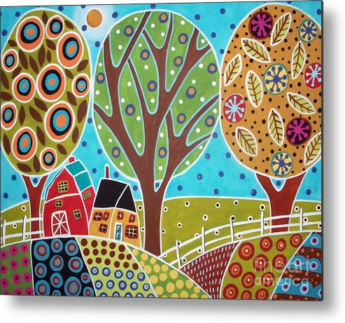 Landscape Metal Print featuring the painting Barn Trees And Garden by Karla Gerard