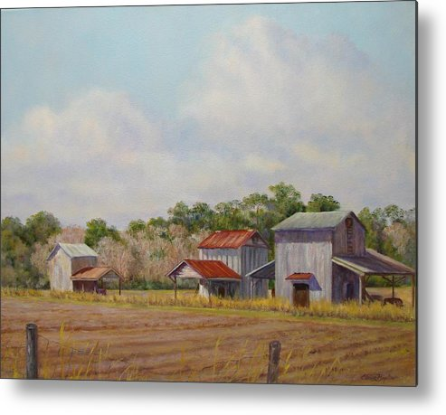 Metal Print featuring the painting Barns Times Three by Elaine Bigelow