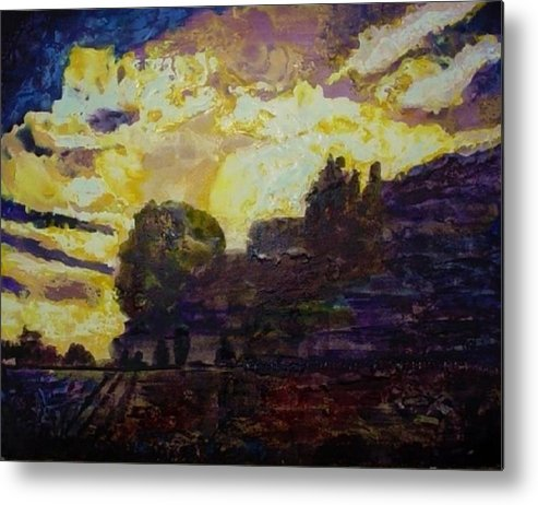 Purples Metal Print featuring the painting Basics Clouds II by Helen Musser