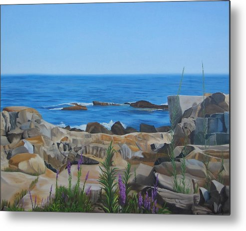 Seascape Metal Print featuring the painting Bass Rocks Gloucester by Lea Novak