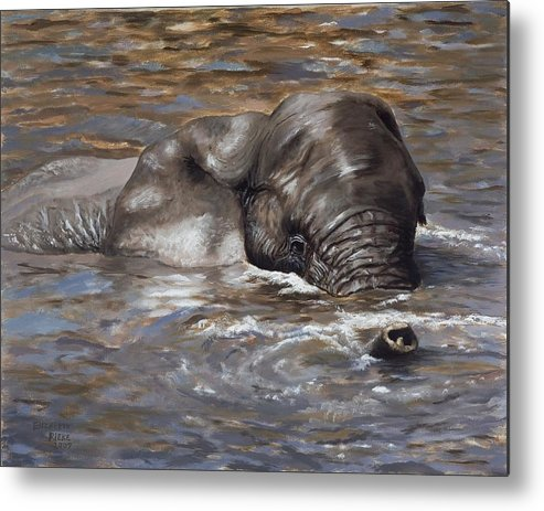 African Metal Print featuring the painting Bath Time - African Elephant In The Water by Elizabeth Rieke Hefley