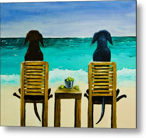 Labrador Retriever Metal Print featuring the painting Beach Bums by Roger Wedegis