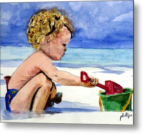 Toddler Metal Print featuring the painting Beach Construction by Jim Phillips