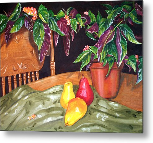 Still Life Metal Print featuring the painting Begonias And Pears by Dorothy Riley