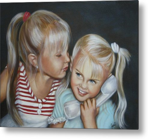 Portrait Metal Print featuring the painting Best Friends by Joni McPherson