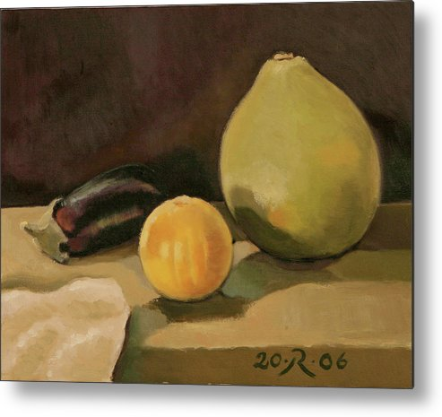 Still-life Cucurbit Aubergine Grapefruit Metal Print featuring the painting Big Grapefruit by Raimonda Jatkeviciute-Kasparaviciene