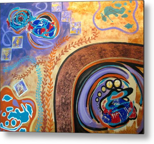 Abstract Metal Print featuring the painting Biomorphic Botanical by Diann Baggett