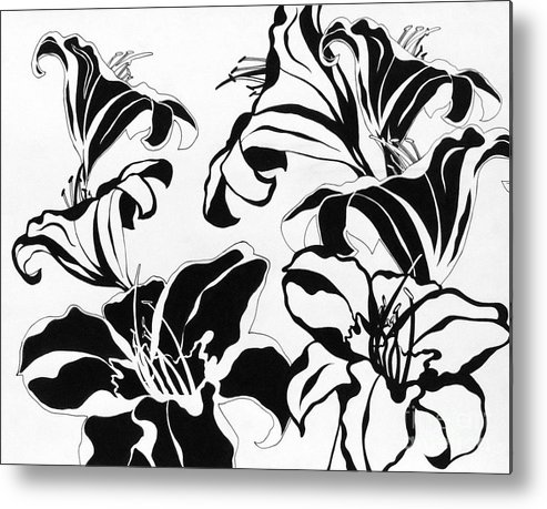 Flowers Metal Print featuring the drawing Blooming by Alicia Boswell