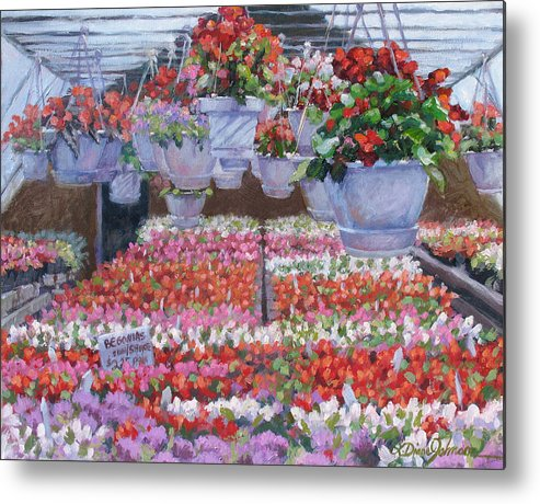 Greenhouse Garden Metal Print featuring the painting Blooms Ablaze by L Diane Johnson