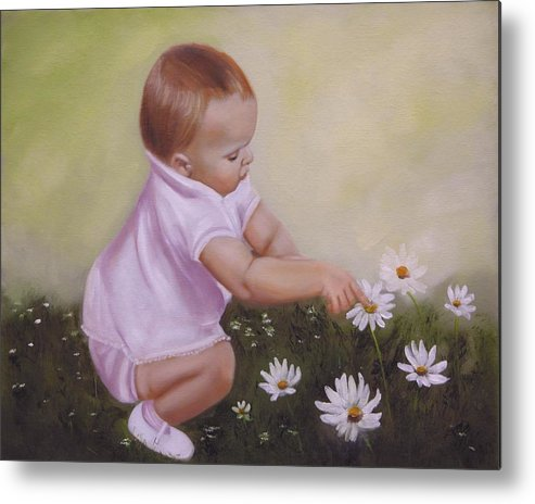 Baby Metal Print featuring the painting Blossom Among The Flowers by Joni McPherson