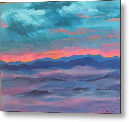 Mountain Range Metal Print featuring the painting Blue Ridge I by Sheryl Sutherland
