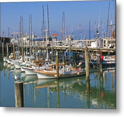 Boats Metal Print featuring the photograph Boats At Fisherman by Tom Reynen