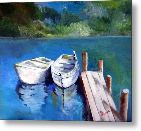 Landscape Metal Print featuring the painting Boats Docked by Julie Lamons