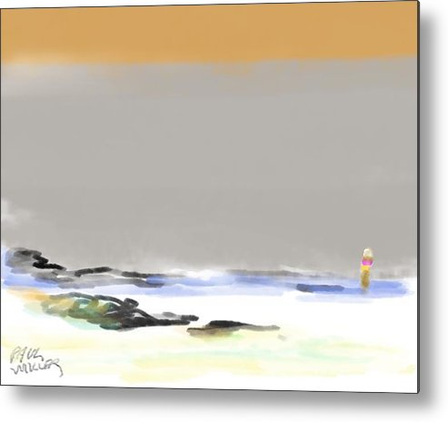 Seascape Metal Print featuring the painting Bolinas Beach Walker by Paul Miller