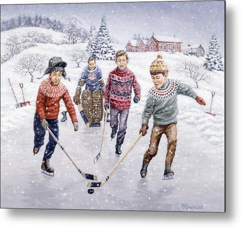 Hockey Metal Print featuring the painting Breakaway by Richard De Wolfe