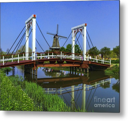 Holland Metal Print featuring the photograph Bridge And Windmill by Nick Zelinsky