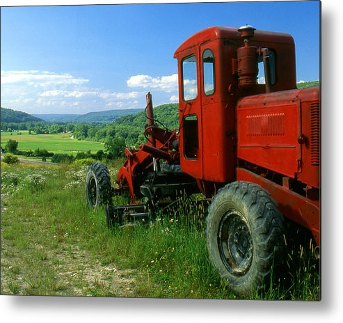 Heavy Equipment Metal Print featuring the photograph Bright Red Antique Grader by Roger Soule