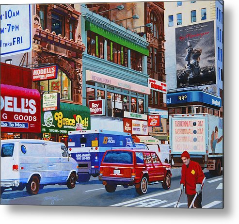Street Scenes Metal Print featuring the painting Broadway by John Tartaglione