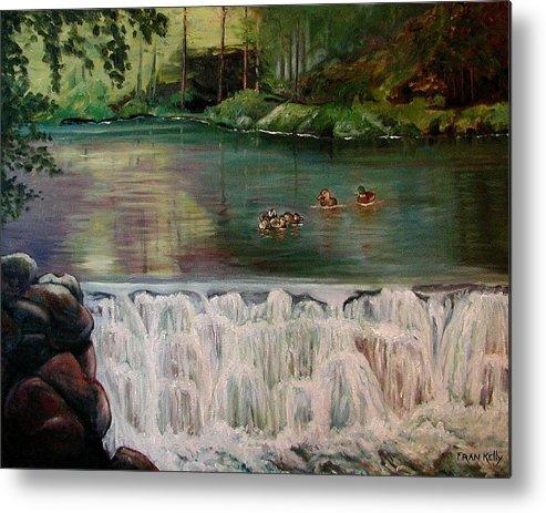 Original Metal Print featuring the painting Bronxville Lake by Fran Kelly